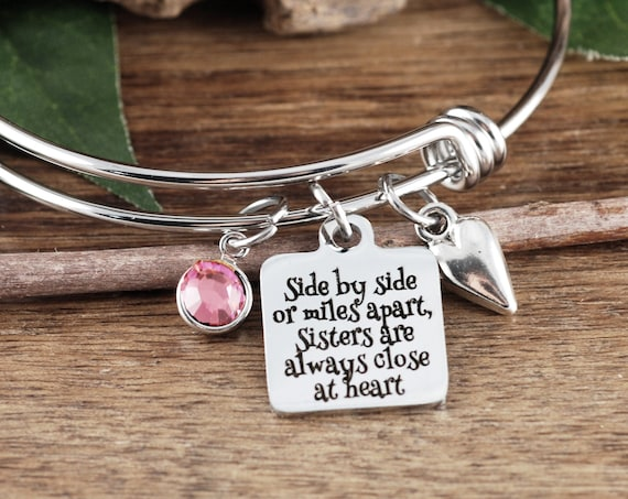 Side by Side or Miles Apart, Bracelet for Sister, Gifts for Sisters, Sister Bracelet, Charm Bracelet, Birthday Gift for Sister