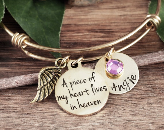 A piece of my heart lives in heaven, Personalized Memorial Bracelet, Sympathy Gift, Loss of Dad, Gold Bangle Bracelet, Remembrance Gift