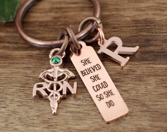 Graduation gift for Nurse, She Believed She could so She Did, Nurse Graduation Keychain, College Graduation Gift, Gift for RN