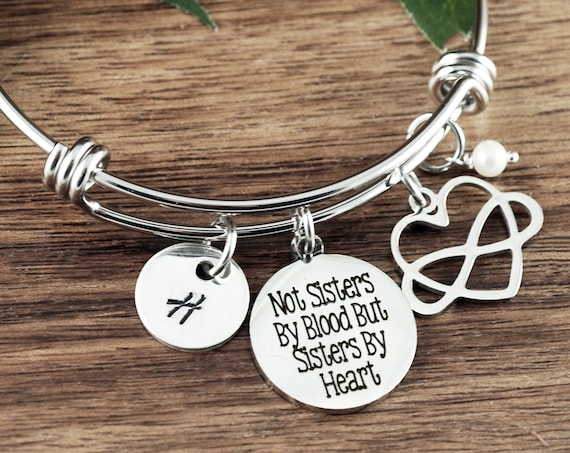Not sisters by blood but Sisters by Heart, Bracelet for BFF, Gifts for Best Friend, Friends Bracelet, Charm Bracelet, Friends Birthday Gift