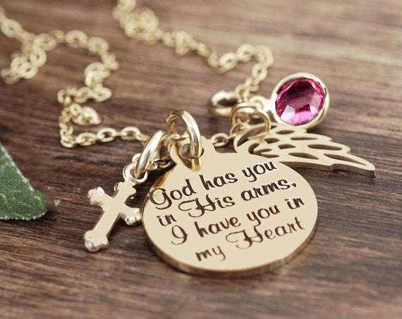 God has you in his arms I have you in my Heart Necklace, Personalized Memorial Necklace, Sympathy Gift, Remembrance Gift, Wing Necklace