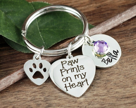 Paw Prints on my Heart, Pet Memorial Keychain, Loss of Dog, Angel Baby, Memorial Gift, Dog Paw Keychain, Loss of pet Gift, Dog Mom Gift