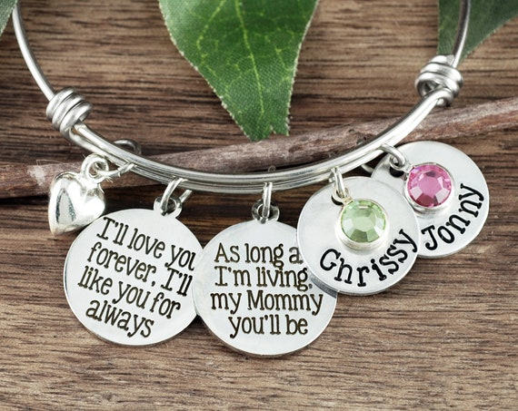 Personalized Mom Bracelet, I'll love you forever, I'll like you for always, Gift for Mom, Mother's Bracelet, Bangle Bracelet, Mother's Day