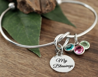 My Blessings Bracelet with Birthstones, for Grandma, Grandma Bracelet, Grandmother Gift, Birthstone Bracelet, Mother's Gift, Mother's Day