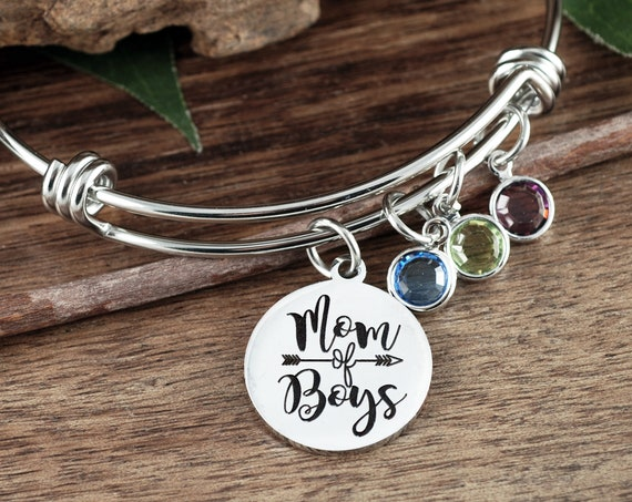 Personalized Mom of Boys Bracelet, Boys Mom Bracelet, Mothers Day Jewelry, Birthday gift for Mom, Birthstone Jewelry, Gift for Mom