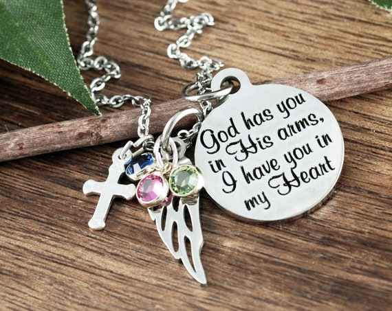 God has you in his arms, Memorial Jewelry Necklace, Personalized Memorial Necklace, Sympathy Gift, Remembrance Gift, Custom Wing Necklace