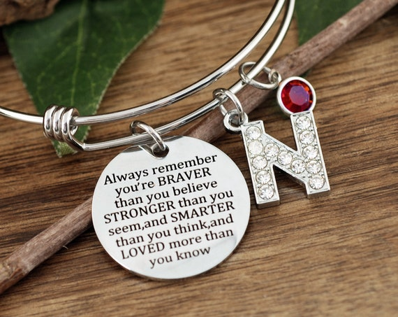 Personalized Motivational Bracelet, You Are Braver Than You Believe Stronger Than You Seem, and Smarter Thank You Think, Pooh Quote