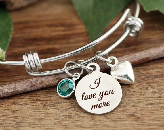 Love You More Bracelet, Bracelet for Mom, Wife, Girlfriend, Heart bangle Bracelet, Personalized, I Love You More Jewelry, Mother's Day