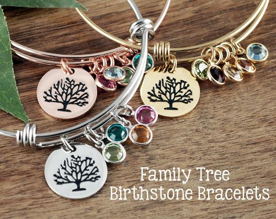 Grandmother Bracelet, Family Tree Bracelet with Birthstones, Tree of life Charm Bracelet, Mom Bracelet, Grandma Bracelet, Gift for Mom