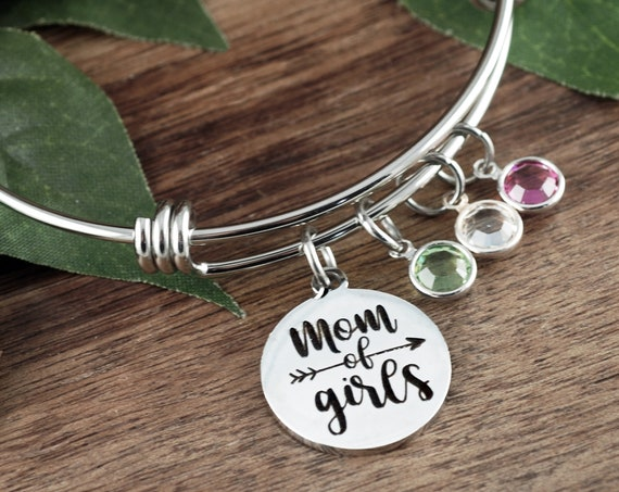 Personalized Mom of Girls Bracelet, Girl Mom Bracelet, Mothers Day Jewelry, Birthday gift for Mom, Birthstone Jewelry, Gift for Mom