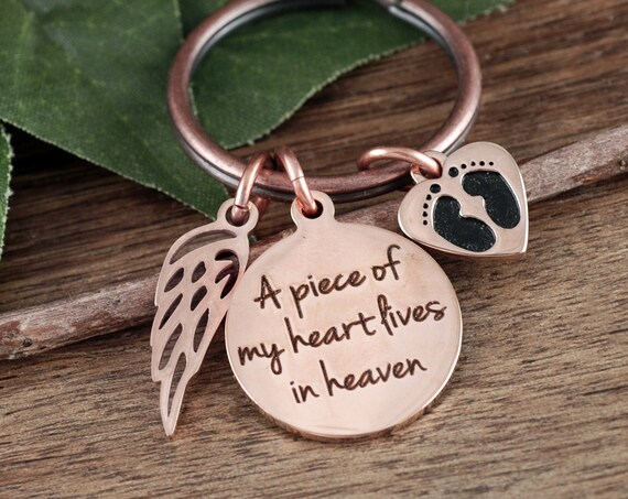 Personalized Memorial Keychain, A piece of my Heart, Memorial Gift, Sympathy Gift, In Memory Of,  Loss of Baby, Miscarriage gift