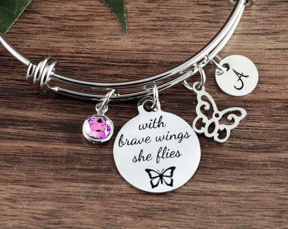 Motivational Jewelry, With brave wings she flies, Memorial Jewelry, Remembrance Gift, Bangle Bracelet, Wing Bracelet, Sympathy Gift