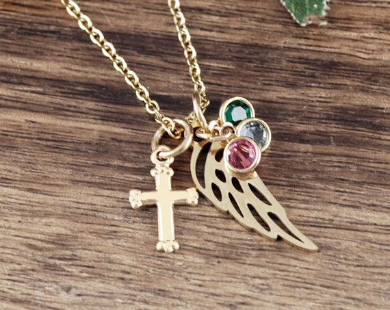 Gold Memorial Jewelry Necklace, Personalized Memorial Necklace, Sympathy Gift, Loss of Grandma, Remembrance Gift, Birthstone Wing Necklace