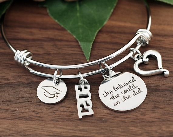 Silver She Believed She Could So She Did Charm Bracelet, Graduation Gift, Personalized Gift, Nursing Graduation, Inspirational Gift