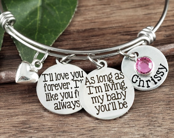 As long as I'm living my Baby you'll be, Personalized Daughter Bracelet, Gift for Daughter, Daughter Bracelet, Bangle Bracelet, Wire Bangle