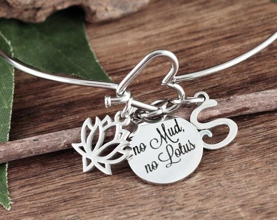 Personalized Lotus Bracelet, No Mud No Lotus Gift, Yoga Bracelet, Inspirational Bracelet, BoHo Jewelry, Zen Bracelet, Yoga Gift, Buddha Gift