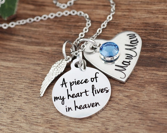 A piece of my heart lives in heaven, Personalized Memorial Necklace, Sympathy Gift, Loss of Loved One, Remembrance Necklace, Loss of Child