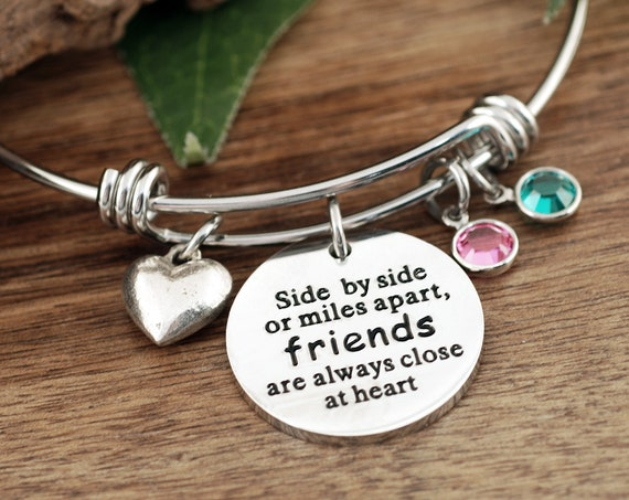 Side by Side or Miles Apart, Bracelet for Friend, Gifts for Friends, Friendship Bracelet, Charm Bracelet, Birthday Gift for Best Friend
