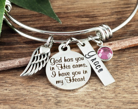 God has you in His arms I have you in my heart, Personalized Memorial Bracelet, Sympathy Gift, Remembrance Gift, Silver Bangle Bracelet