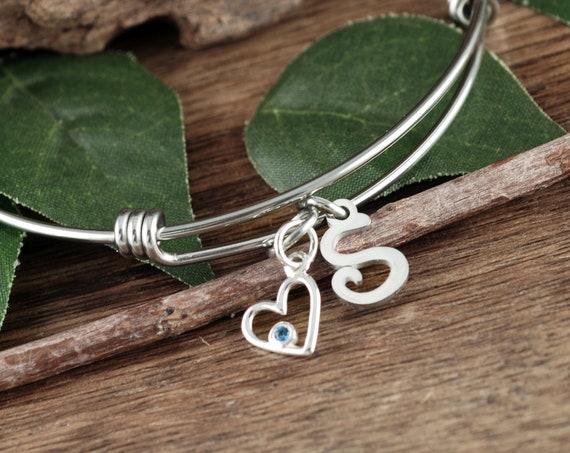 Birthstone Heart Bracelet, Initial Heart Bracelet, Silver Heart Bracelet, Personalized Heart Bracelet, Birthday Gift for Women,Gift for Wife