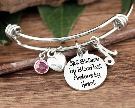 Sisters Jewelry, Not sisters by blood but Sisters by Heart, Sisters Bracelet, Bracelet for BFF, for Friend, Friends Bracelet, Charm Bracelet