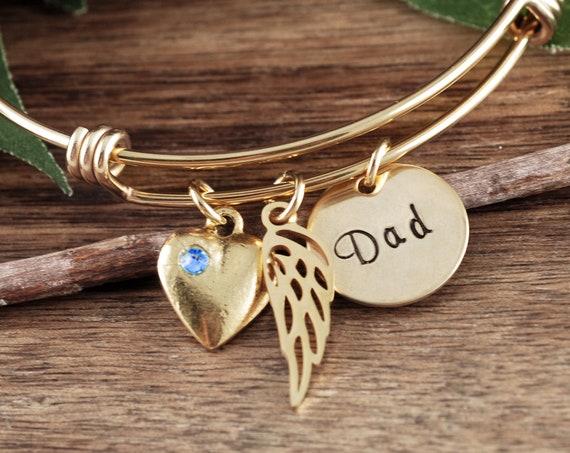 GOLD Memorial Bracelet, Angel Wing Bracelet, Memorial Jewelry, Personalized Bangle Bracelet, Memorial Jewelry, Sympathy Jewelry