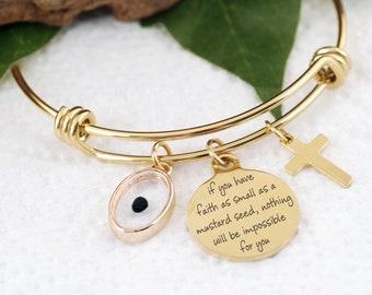 Mustard Seed Bracelet, Inspirational Christian Gift, Matthew 17:20 Bracelet, Faith as small as a mustard seed, Mustard Seed Charm