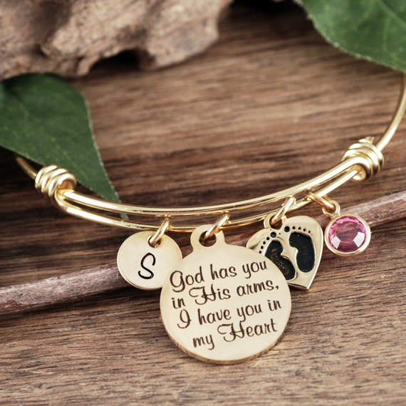 Memorial Miscarriage Bracelet, God has you in His arms I have you in my heart, Sympathy Gift, Remembrance Gift,Gold Memorial Bangle Bracelet