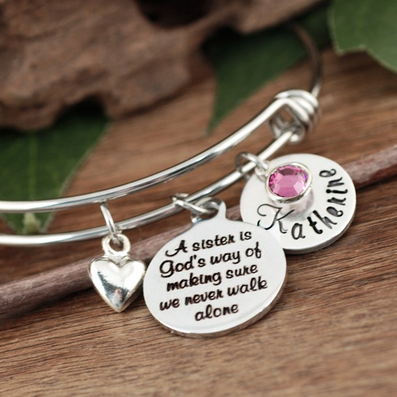 Sister Gift, Sisters Bracelet, Bracelet for Sister, Gifts for Sister, Charm Bracelet, Sister Birthday Gift, Sisters never walk alone
