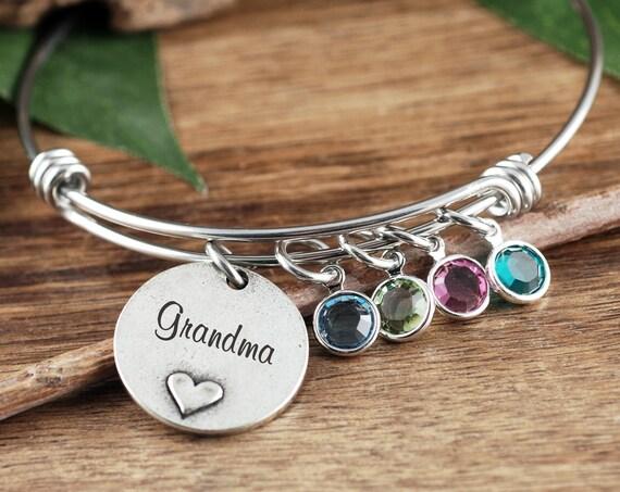 Grandma Birthstone Bracelet, Mother Bangle Bracelet, Gift For Mom, Heart Bracelet, Mommy Bracelet, Heart Bracelet, Mother's Day Gift