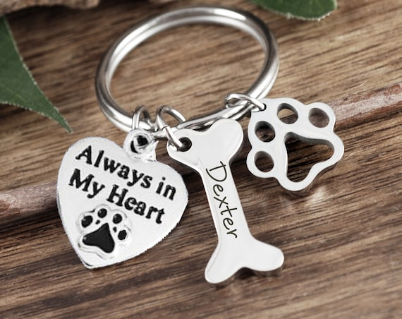 Personalized Pet Memorial Keychain, Always in my Heart Keychain, Dog Paw Keychain, Pet Loss Gift, Pet Memorial Gift, Memorial Keychain
