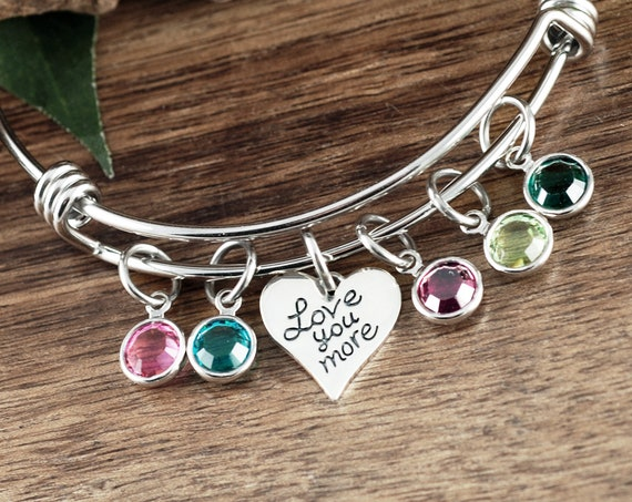 Love you more Bracelet, Grandma Bracelet, Personalized Birthstone Bracelet, Silver Charm Bracelet, Mother's Day Gift, Gift for Grandma