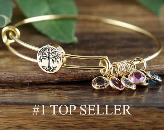 Grandmother Bracelet, Personalized Birthstone Bracelet, Tree of life Charm Bracelet, Gold Family Tree Bangle Bracelet, Mom Bracelet