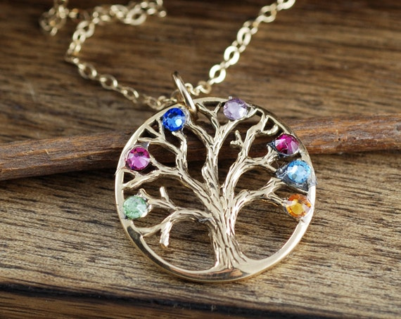 Gold Family Tree Necklace, Personalized Tree of Life Necklace, Mother's Necklace, Gift for Grandma, Mothers Day Gift, Gift for Mom