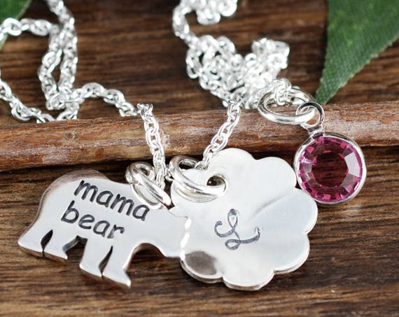 Mama Bear Necklace, Mother's Necklace, Gift for Mom, Personalized Mom Necklace, Birthday Gift for Mom, Mama Bear Jewelry, Mother's Day Gift