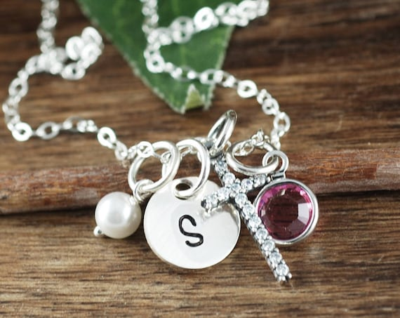 First Holy Communion Gift, Confirmation Gift for Girls, Baptism Gift for Girl, Initial Cross Pendant, Cross Necklace, Christian Gift