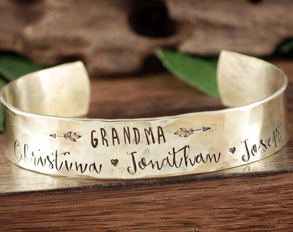 Personalized Grandma Cuff Bracelet, Custom Cuff Bracelet, Mother's Day Gift, Gift for Grandma, Hand Stamped Jewelry, Gift for Her, Grandkids