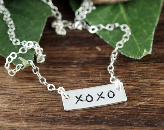 Hand Stamped XOXO Necklace, Hugs and Kisses , Bar Necklace, Valentines Gift, Gift for Wife, Gift for Girlfriend, Layering Necklace