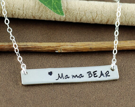Mama Bear Necklace, Personalized Mom Necklace, Rectangle Bar Jewelry, Mothers Necklace, Mama Bird Necklace, Gift for Mom, Mothers Day Gift