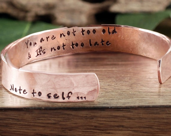 Note to Self Cuff Bracelet, Motivational Gift, Inspirational Cuff, Motivational Jewelry, Gift for Her, Unique Gift for Her, Gift for BFF