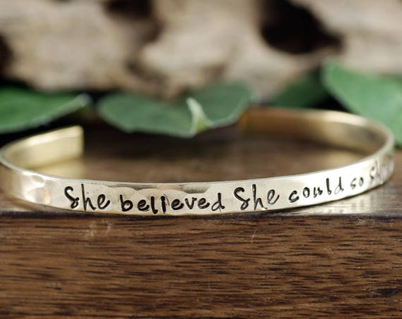 Graduation Gift, She Believed She Could So She Did, Gift For Graduate, Inspirational Jewelry, Quote Jewelry, Engraved Jewelry, Wire Bracelet
