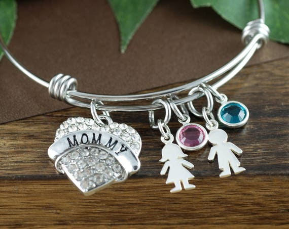 Mother's Birthstone Bracelet, Mother's Bracelet with Birthstones, Gift for Mom, New Mom Bracelet, Gift From Kids for Mom, New Mom Jewelry