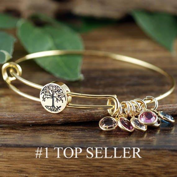 c82bb972f0b8f Grandmother Bracelet, Personalized Birthstone Bracelet, Tree of life ...