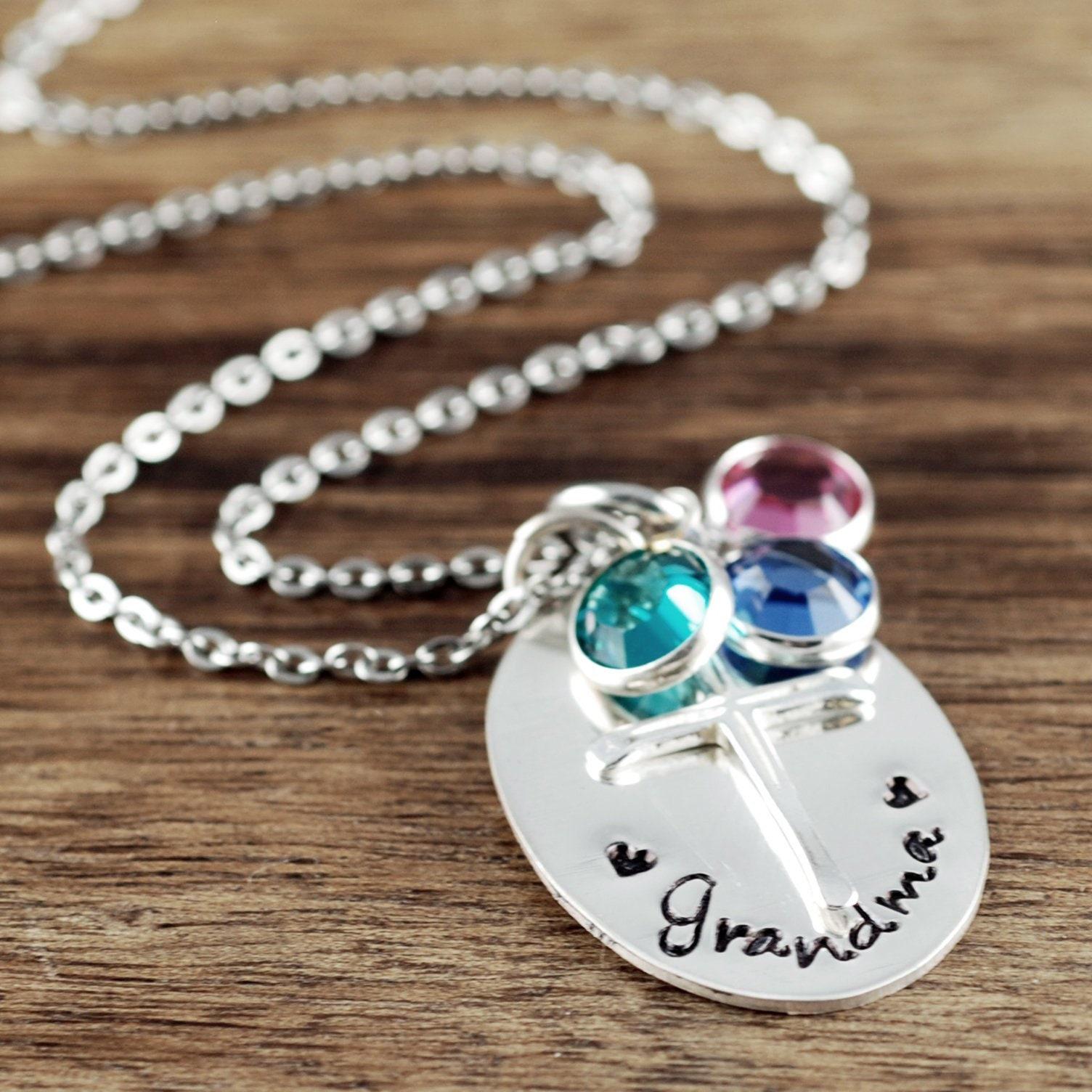 Birthstone Jewelry Personalized Nana Grandma Necklace