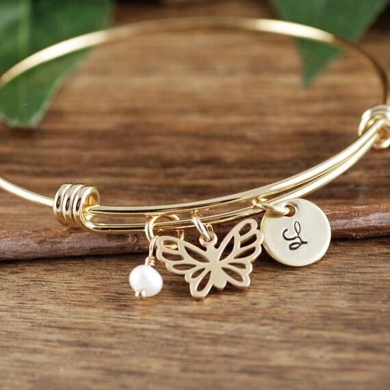 GOLD Butterfly Initial Bracelet, Butterfly Bracelet, Butterfly Jewelry, Gold Butterfly Bangle Bracelet, Memorial Jewelry, Sympathy Jewelry