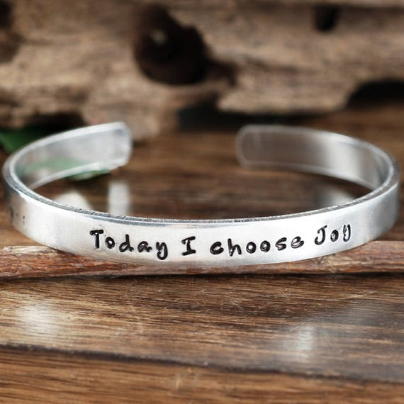 Today I Choose Joy, Inspirational Jewelry, Motivational Cuff Bracelet, Quote Jewelry, Silver Bracelet, Personalized Cuff Bracelet