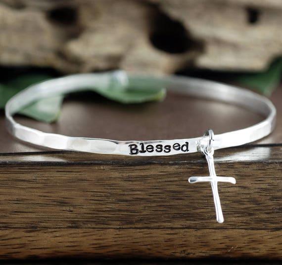 Blessed Bangle Bracelet, Sterling Silver Cross Bracelet, Inspirational Bangle Bracelet, Blessed Jewelry, Silver Cross Bracelet