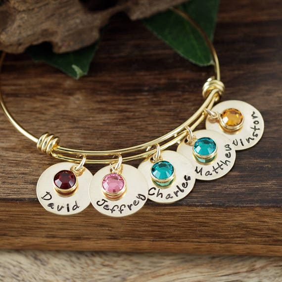 Personalized Gold Name Bracelet, Hand Stamped Name Charm Bracelet, Birthstone Mom Bracelet, Mom Bracelet, Kids Name Gift, Mothers Bracelet