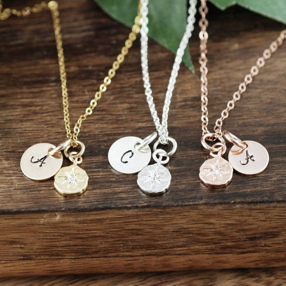 Dainty Compass Necklace, Compass Jewelry, Gold Initial Necklace, Graduation Gift for Her, Minimalist Necklace, Best Friend Necklace