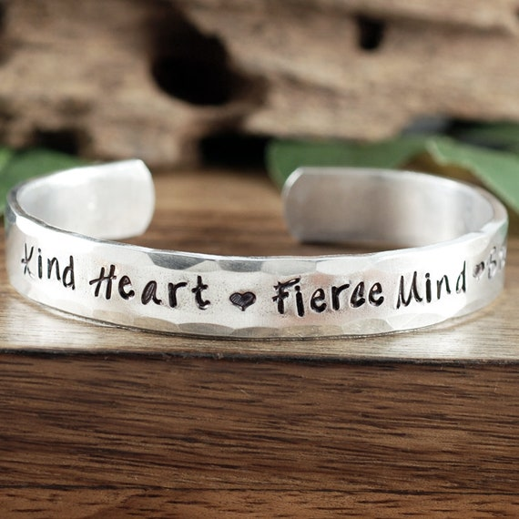 Kind Heart, Fierce Mind, Brave Spirit, Inspirational Bracelet, Encouragement Gift, Gift for Daughter, Quote Bracelet, Sister Gift